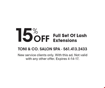 15% Off Full Set Of Lash Extensions. New service clients only. With this ad. Not valid with any other offer. Expires 4-14-17.