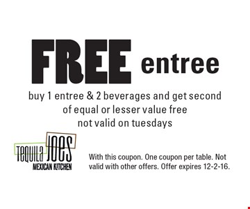 Free entree. Buy 1 entree & 2 beverages and get second of equal or lesser value free. Not valid on tuesdays. With this coupon. One coupon per table. Not valid with other offers. Offer expires 12-2-16.