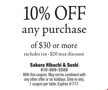 10% OFF any purchase of $30 or more, excludes tax - $20 max discount. With this coupon. May not be combined with any other offer or on holidays. Dine in only.1 coupon per table. Expires 4/7/17.