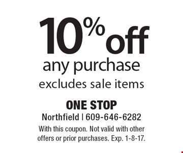 10% off any purchase. Excludes sale items. With this coupon. Not valid with other offers or prior purchases. Exp. 1-8-17.