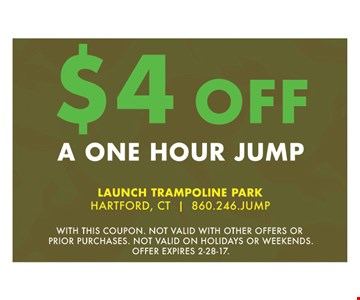 $4 off a one hour jump