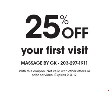 25% Off your first visit. With this coupon. Not valid with other offers or prior services. Expires 2-3-17.