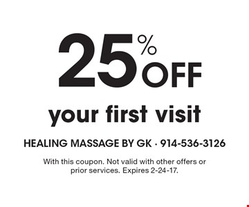 25% Off your first visit. With this coupon. Not valid with other offers or prior services. Expires 2-24-17.