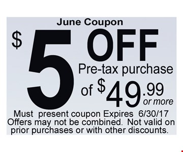 July $5 off pre-tax purchase of $49.99