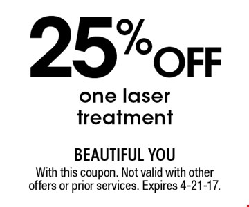 25% off one laser treatment. With this coupon. Not valid with other offers or prior services. Expires 4-21-17.