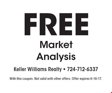 Free Market Analysis. With this coupon. Not valid with other offers. Offer expires 6-16-17.