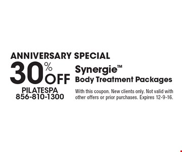 ANNIVERSARY SPECIAL 30% Off Synergie Body Treatment Packages. With this coupon. New clients only. Not valid with other offers or prior purchases. Expires 12-9-16.