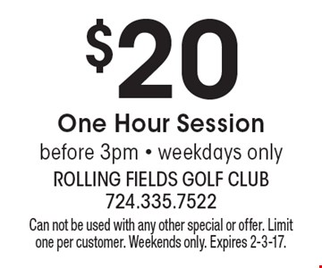 $20 one Hour Session. Before 3pm - weekdays only. Can not be used with any other special or offer. Limit one per customer. Weekends only. Expires 2-3-17.