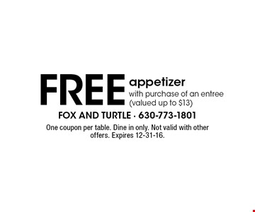 Free appetizer with purchase of an entree (valued up to $13). One coupon per table. Dine in only. Not valid with other offers. Expires 12-31-16.
