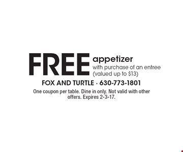 Free appetizer with purchase of an entree (valued up to $13). One coupon per table. Dine in only. Not valid with other offers. Expires 2-3-17.
