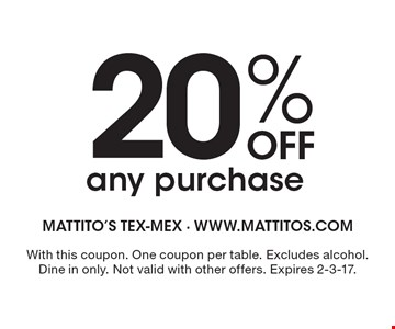 $10 OFF your next purchase of $30 or more. With this coupon. One coupon per table. Excludes alcohol. Dine in only. Not valid with other offers. Expires 2-3-17.