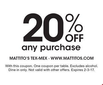 20% Off any purchase. With this coupon. One coupon per table. Excludes alcohol. Dine in only. Not valid with other offers. Expires 2-3-17.
