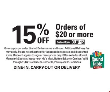 15% off order of $20 or more