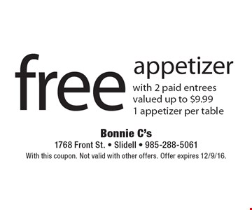 Free appetizer with 2 paid entrees Valued up to $9.99. 1 appetizer per table. With this coupon. Not valid with other offers. Offer expires 12/9/16.