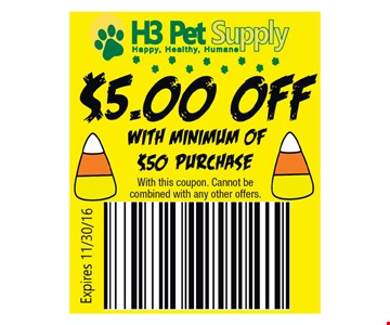 $5.00 off with minimum of $50 purchase. Cannot be combined with any other offers. Expires 11/30/16.
