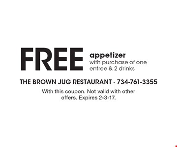 FREE appetizer with purchase of one entree & 2 drinks. With this coupon. Not valid with other offers. Expires 2-3-17.