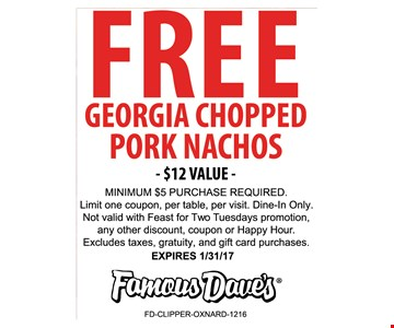 Free pork nachos $12 value