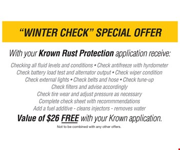 Winter Check Special Offer - a $26 Value. Not to be combined with any other offers. Expires 12/02/2016.