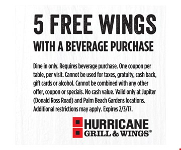 5 free wings with a beverage purchase