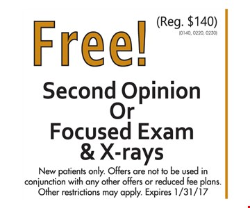 Free Second Opinion or Focused Exam & X-rays