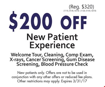 $200 off new patient experience.