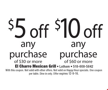 $10 off any purchase of $60 or more. $5 off any purchase of $30 or more. With this coupon. Not valid with other offers. Not valid on Happy Hour specials. One coupon per table. Dine in only. Offer expires 12-9-16.