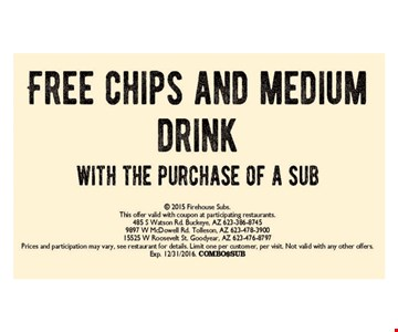 FREE chips and medium drink. This offer valid with coupon at participating restaurants. Prices and participation may vary, see restaurant for details. Limit one per customer, per visit. Not valid with any other offers. Exp. 12/31/16.