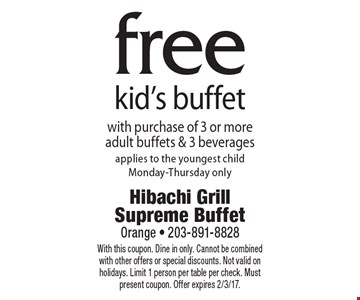 free kid's buffet with purchase of 3 or more adult buffets & 3 beverages. Applies to the youngest child. Monday-Thursday only. With this coupon. Dine in only. Cannot be combined with other offers or special discounts. Not valid on holidays. Limit 1 person per table per check. Must present coupon. Offer expires 2/3/17.