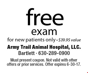 free exam for new patients only - $39.95 value. Must present coupon. Not valid with other offers or prior services. Offer expires 6-30-17.