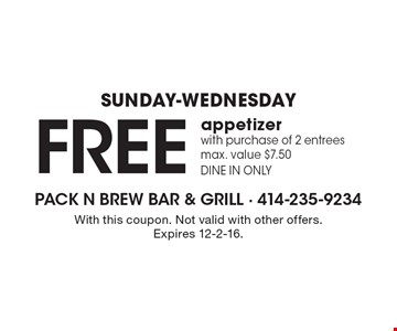Sunday-Wednesday. Free appetizer with purchase of 2 entrees. Max. value $7.50. Dine in only. With this coupon. Not valid with other offers. Expires 12-2-16.