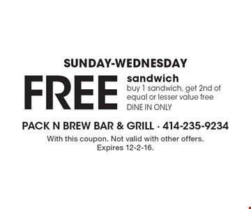 Sunday-Wednesday. Free sandwich. Buy 1 sandwich, get 2nd of equal or lesser value free. Dine in only. With this coupon. Not valid with other offers. Expires 12-2-16.