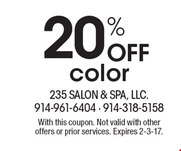 20% Off color. With this coupon. Not valid with other offers or prior services. Expires 2-3-17.