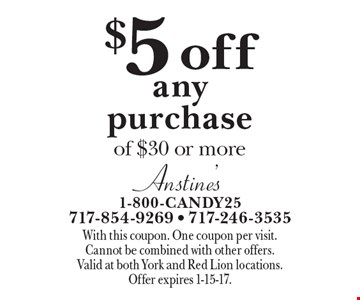 $5 off any purchase of $30 or more. With this coupon. One coupon per visit. Cannot be combined with other offers. Valid at both York and Red Lion locations. Offer expires 1-15-17.