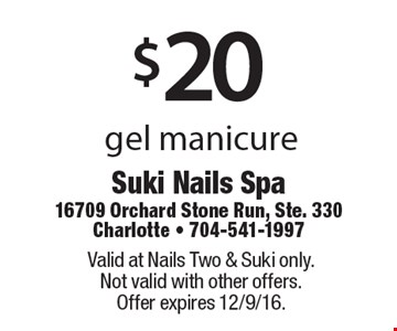 $20 gel polish pedicure or $20 basic pedicure. Valid at Nails Two & Suki only. Not valid with other offers. Offer expires 12/9/16.