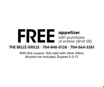 Free appetizer with purchase of entree (limit $8). With this coupon. Not valid with other offers. Alcohol not included. Expires 2-3-17.