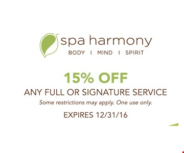15% off any full or signature service