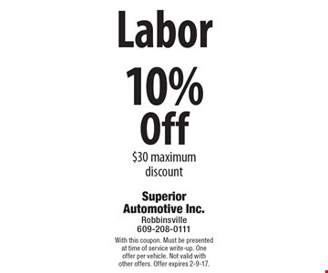 10% Off Labor $30 maximum discount. With this coupon. Must be presented at time of service write-up. One offer per vehicle. Not valid with other offers. Offer expires 2-9-17.