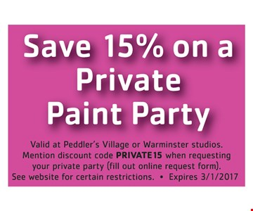 Save 15% on a private paint party