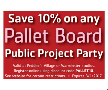Save 10% on any pallet board