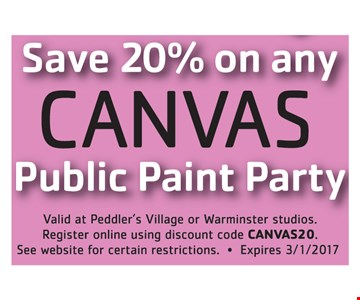 Save 20% on any canvas public paint party