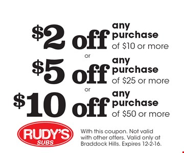 $2 off any purchase of $10 or more. $5 off any purchase of $25 or more. $10 off any purchase of $50 or more. With this coupon. Not valid with other offers. Valid only at Braddock Hills. Expires 12-2-16.