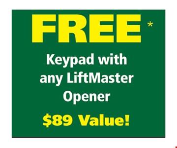 Free keypad with liftmaster opener