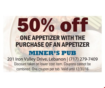 50% Off One Appetizer With The Purchase Of An Appetizer. Discount taken on lower cost item. Coupons cannot be combined. One coupon per tab. Valid until 12/30/16.