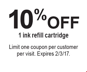 10% OFF 1 ink refill cartridge. Limit one coupon per customer per visit. Expires 2/3/17.