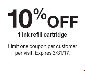 10% Off 1 ink refill cartridge. Limit one coupon per customer per visit. Expires 3/31/17.