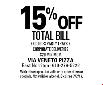 15% off total bill. Excludes party trays & corporate deliveries $20 minimum. With this coupon. Not valid with other offers or specials. Not valid on alcohol. Expires 7/7/17.