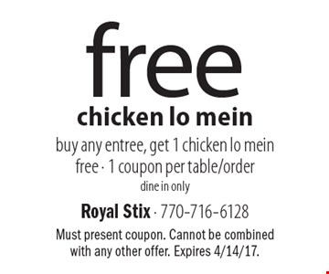 Free chicken lo mein – buy any entree, get 1 chicken lo mein free. 1 coupon per table/order. Dine in only. Must present coupon. Cannot be combined with any other offer. Expires 4/14/17.
