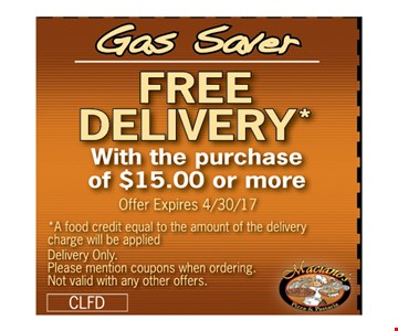 Free Delivery with the purchase of $15 or more
