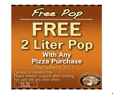 FREE 2 liter of popwith any pizza purchase