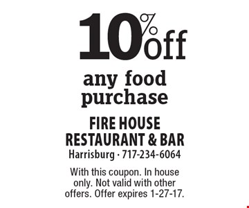 10%off any food purchase. With this coupon. In house only. Not valid with other offers. Offer expires 1-27-17.
